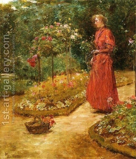 Woman Cutting Roses in a Garden by Childe Hassam - Reproduction Oil Painting