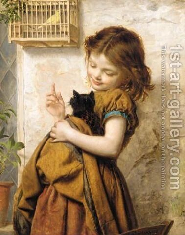 Her favourite pets by Sophie Gengembre Anderson - Reproduction Oil Painting