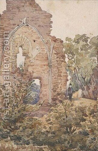 Figure By Ruins by Henri-Joseph Harpignies - Reproduction Oil Painting