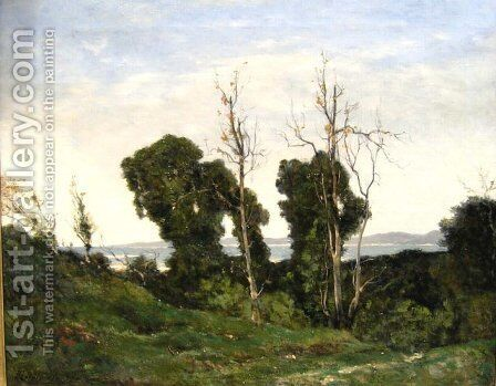 Landscape in evening light by Henri-Joseph Harpignies - Reproduction Oil Painting