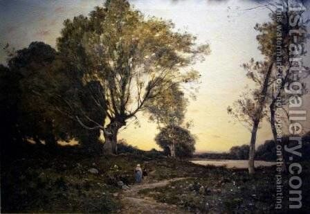 Two Figures Along the Forest Path by Henri-Joseph Harpignies - Reproduction Oil Painting