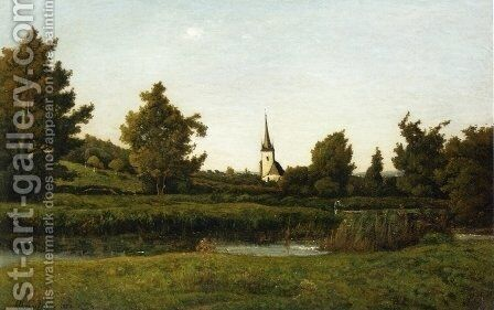 View of a Village by Henri-Joseph Harpignies - Reproduction Oil Painting