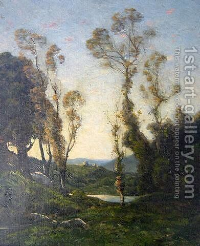 Wooded ladscape by Henri-Joseph Harpignies - Reproduction Oil Painting