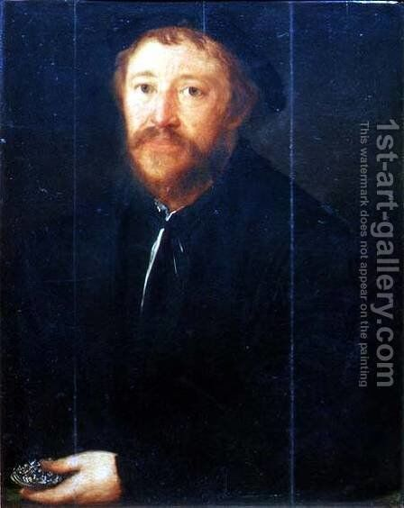 Portrait of Cornelius Gros (panel) by Christoph Amberger - Reproduction Oil Painting