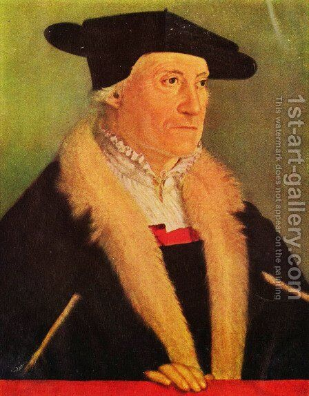 Portrait of Kosmographen Sebastian Münster by Christoph Amberger - Reproduction Oil Painting