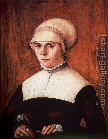 The wife of Jörg Zörer by Christoph Amberger - Reproduction Oil Painting