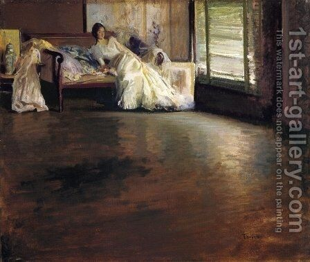 Across the Room (aka By the Window or Leisure Hour) by Edmund Charles Tarbell - Reproduction Oil Painting