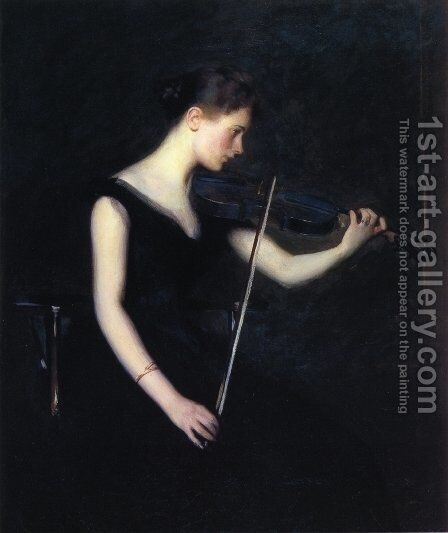 Girl with Violin (aka The Violinist) by Edmund Charles Tarbell - Reproduction Oil Painting