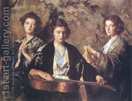 My Three Granddaughters by Edmund Charles Tarbell - Reproduction Oil Painting