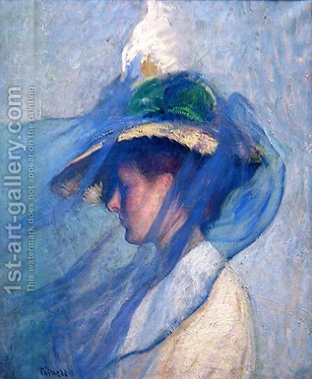 The Blue Veil by Edmund Charles Tarbell - Reproduction Oil Painting