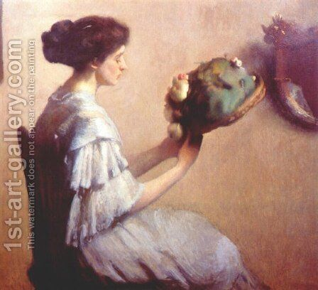 Young Lady with a Hat by Edmund Charles Tarbell - Reproduction Oil Painting