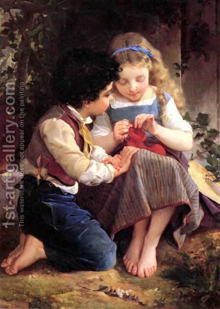 A Special Moment (detail) by Emile Munier - Reproduction Oil Painting