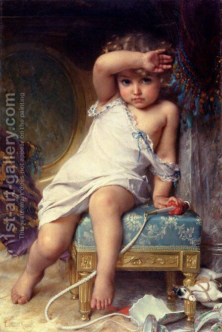 The Broken Vase by Emile Munier - Reproduction Oil Painting