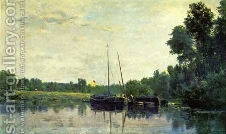 Boats on the Oise by Charles-Francois Daubigny - Reproduction Oil Painting