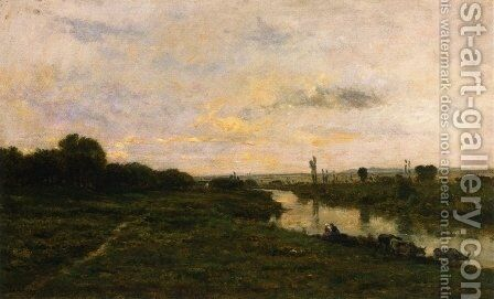 Cows on the Banks of the Seine, at Conflans by Charles-Francois Daubigny - Reproduction Oil Painting