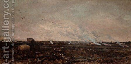 Octobre by Charles-Francois Daubigny - Reproduction Oil Painting