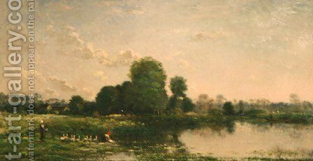 Riverbank with Fowl by Charles-Francois Daubigny - Reproduction Oil Painting