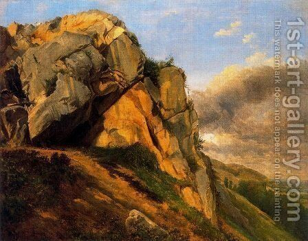 Rocky landscape by Charles-Francois Daubigny - Reproduction Oil Painting