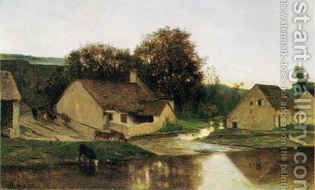 The Hamlet of Optevoz by Charles-Francois Daubigny - Reproduction Oil Painting