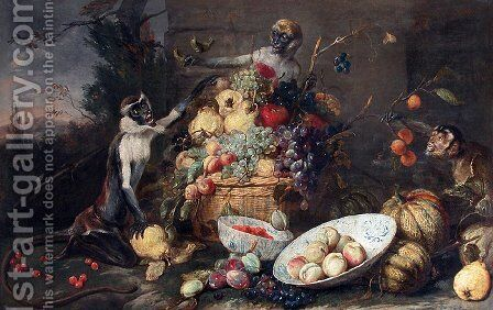 Monkeys fruit thieves by Frans Snyders - Reproduction Oil Painting