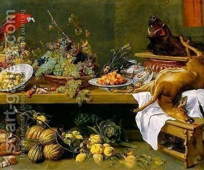 Still Life with Fruit, Vegetables and Dead Game by Frans Snyders - Reproduction Oil Painting