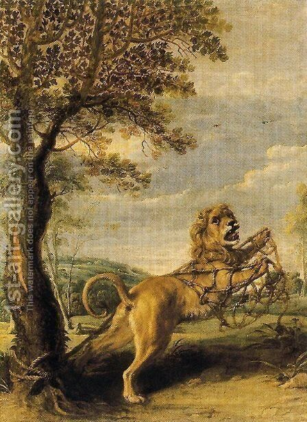 The fable of the Lion and the Mouse by Frans Snyders - Reproduction Oil Painting