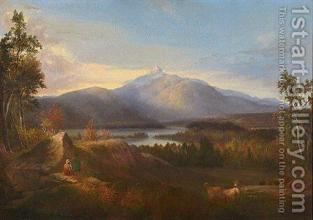 Chocorua Peak, Pond and Adjacent Scenery by Alvan Fisher - Reproduction Oil Painting