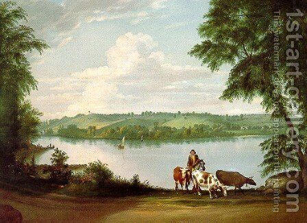 View Near Springfield, Massachusetts by Alvan Fisher - Reproduction Oil Painting
