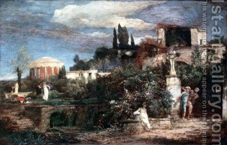 Altrömische wine tavern by Arnold Böcklin - Reproduction Oil Painting