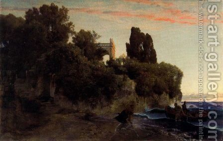 Castle by the sea (Murder in the park) by Arnold Böcklin - Reproduction Oil Painting