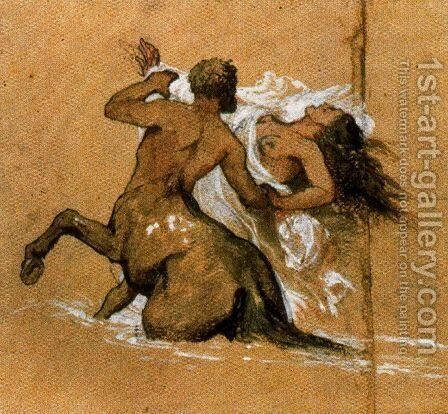Centaur and nymph by Arnold Böcklin - Reproduction Oil Painting