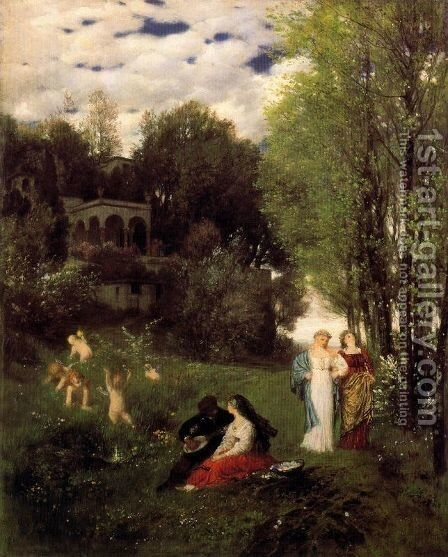Ideal spring landscape by Arnold Böcklin - Reproduction Oil Painting
