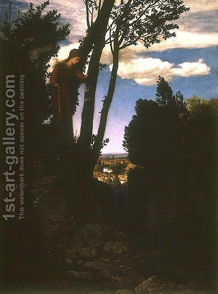Landscape character in the vicinity of Florence by Arnold Böcklin - Reproduction Oil Painting