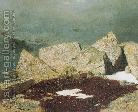 Mountain Landscape with chamois by Arnold Böcklin - Reproduction Oil Painting