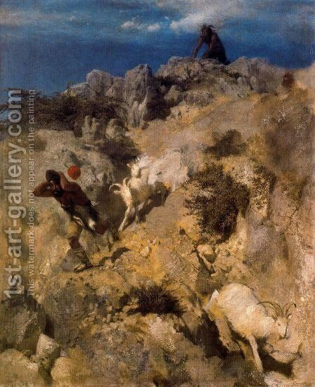 Pan frightening a shepherd by Arnold Böcklin - Reproduction Oil Painting