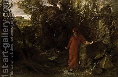 Petrarch to the fountain of Vaucluse by Arnold Böcklin - Reproduction Oil Painting