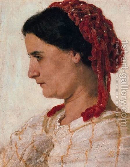 Portrait of Angela Böcklin à la rèsille rouge by Arnold Böcklin - Reproduction Oil Painting