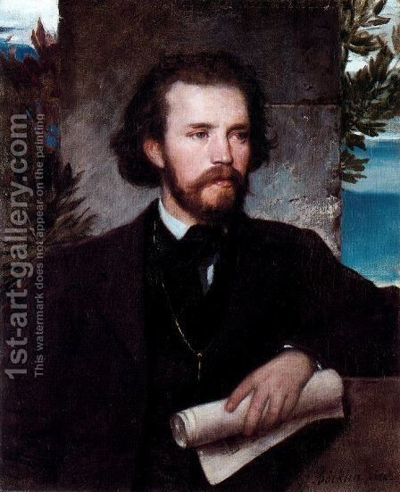 Portrait of singer Karl Wallenreiter by Arnold Böcklin - Reproduction Oil Painting