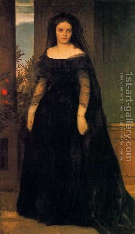 Portrait of the actress Fanny Janauscher by Arnold Böcklin - Reproduction Oil Painting