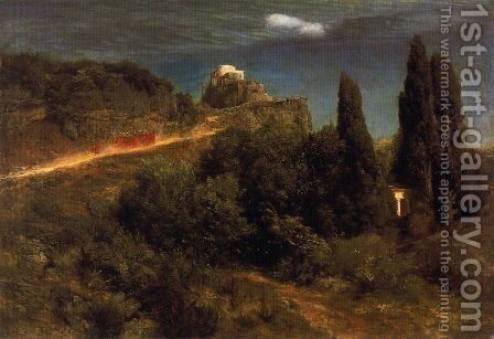Soldiers amount to a mountain stronghold by Arnold Böcklin - Reproduction Oil Painting