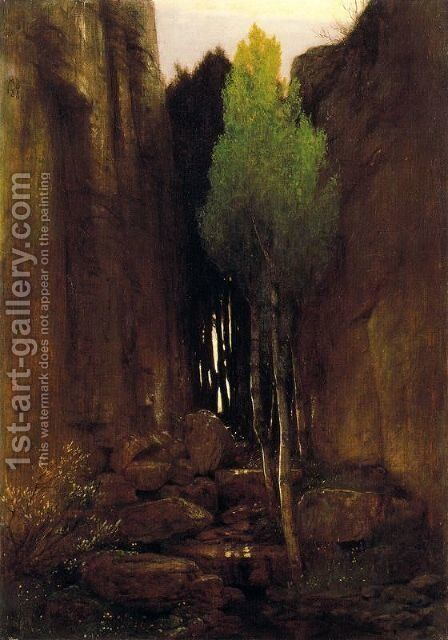 Source between two rock walls by Arnold Böcklin - Reproduction Oil Painting