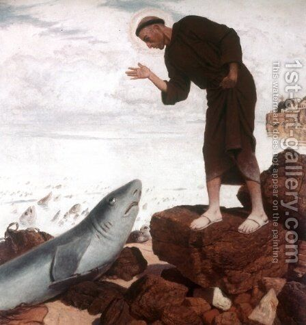 St. Anthony preaches the fish by Arnold Böcklin - Reproduction Oil Painting