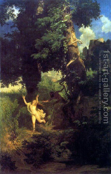 Syrinx fleeing the onslaught of Pan by Arnold Böcklin - Reproduction Oil Painting