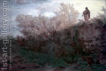 The piper by Arnold Böcklin - Reproduction Oil Painting