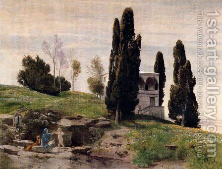The rest during the flight to Egypt (left panel) by Arnold Böcklin - Reproduction Oil Painting