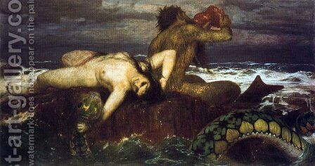Triton and néréide by Arnold Böcklin - Reproduction Oil Painting