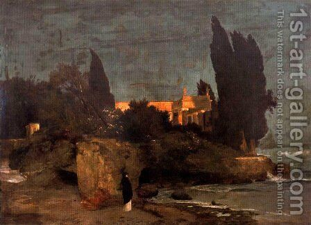 Villa on the seafront (first version) by Arnold Böcklin - Reproduction Oil Painting