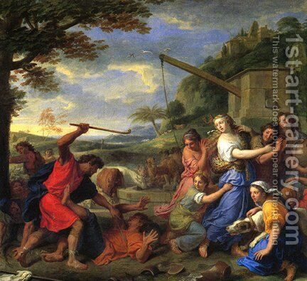 Daughters of Jethro by Charles Le Brun - Reproduction Oil Painting