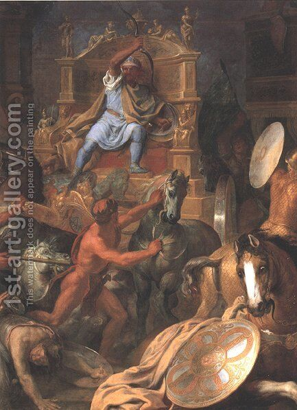 The Battle of Arbella (detail) by Charles Le Brun - Reproduction Oil Painting