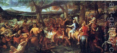 The defeat of Porus by Charles Le Brun - Reproduction Oil Painting